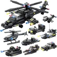 WishaLife 554pcs City Police, SWAT Set, City Police Station Building Sets, City Sets, Police Set for Boys Gift (Contain 8 Minifigures)