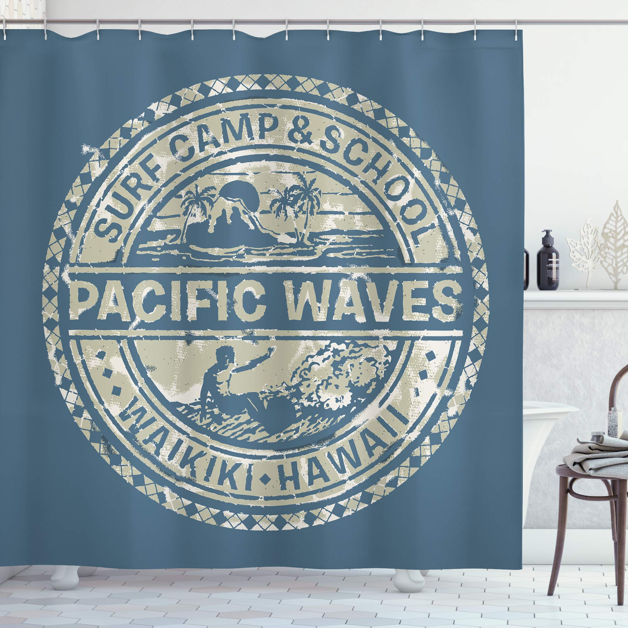 """Ambesonne Modern Shower Curtain, Pacific Waves Surf Camp and School Hawaii Logo Motif with Effects Design, Cloth Fabric Bathroom Decor Set with Hooks, 70"""" Long, Blue Khaki"""