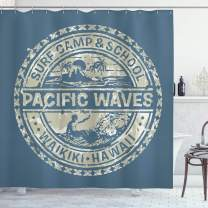 """Ambesonne Modern Shower Curtain, Pacific Waves Surf Camp and School Hawaii Logo Motif with Effects Design, Cloth Fabric Bathroom Decor Set with Hooks, 75"""" Long, Blue Khaki"""