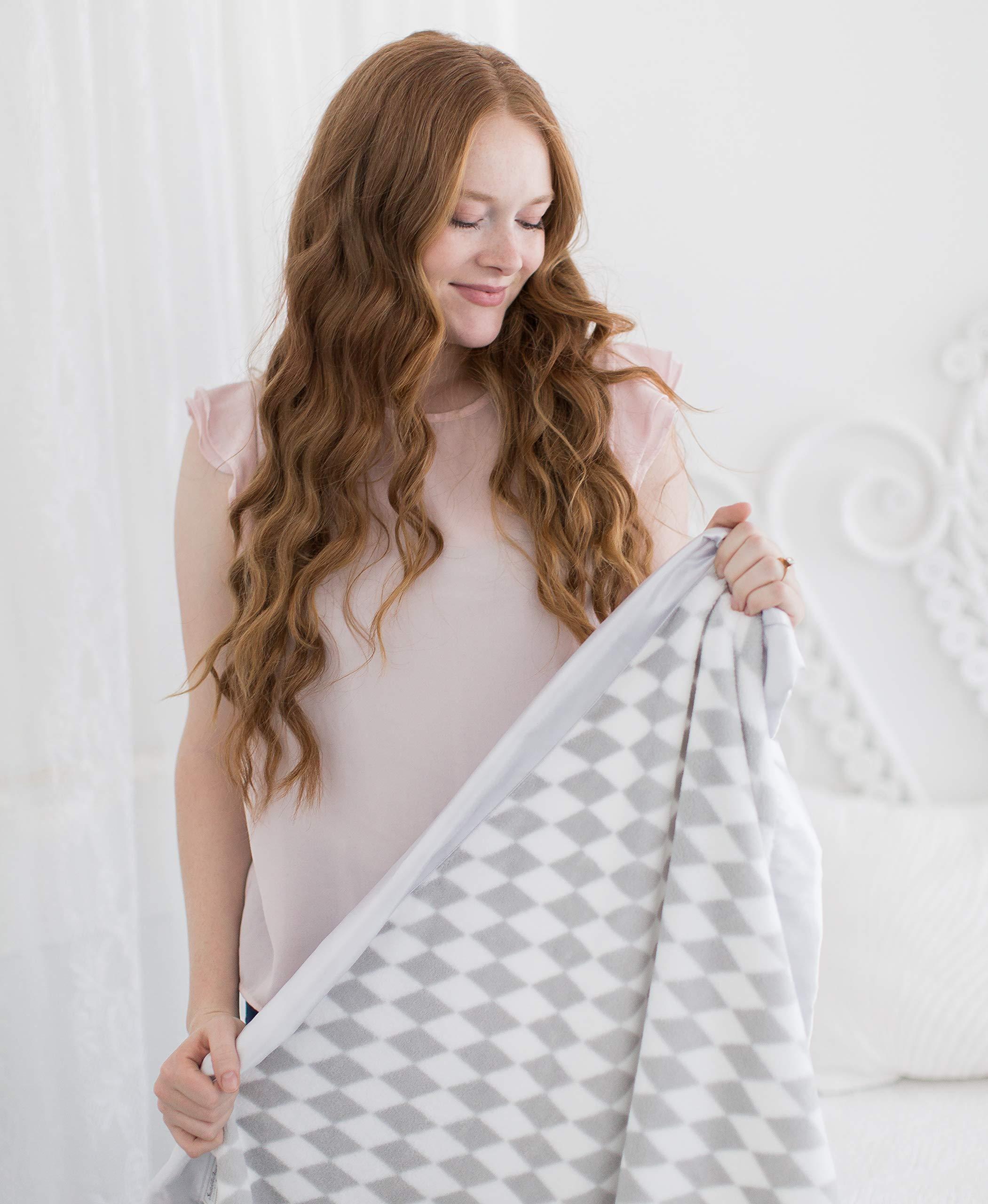 SwaddleDesigns Stroller Blanket, Forever Diamonds with Sterling Satin Trim