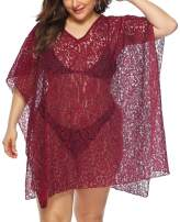 Womens Swimsuit Cover Up Plus Size Lace Beach Coverups Bathing Suit Swimwear Swim Cover-ups