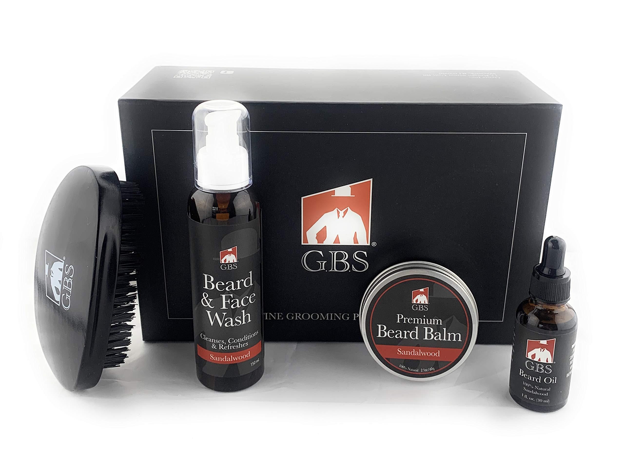 "GBS Sandalwood Beard Set - 100% Finest Military Style Brush 3"" x 5"" Oval Black Wood Finish Brush - Sandalwood 1 oz Beard Oil, Sandalwood Beard Balm 2.1 oz, and Sandalwood Beard Face Wash 150 mL"