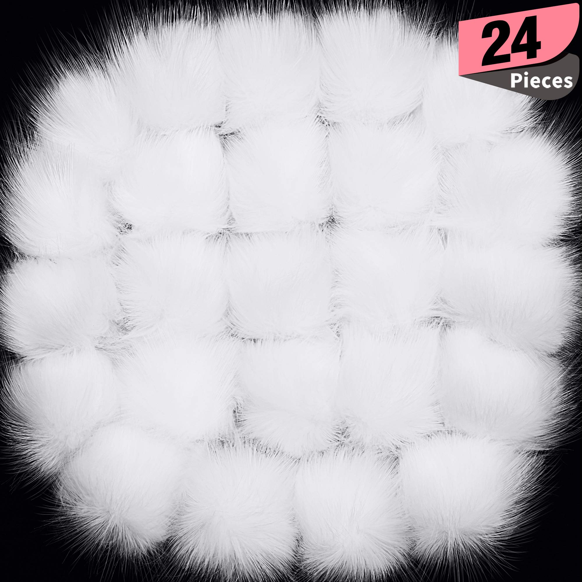 Willbond 36 Pieces Faux Fox Fur Pom Pom Balls with Rubber Band Fluffy Knitting Accessories for Hats Shoes Scarves Handbags Keychain Assorted Colors