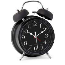 "Bernhard Products Analog Alarm Clock 4"" Twin Bell Black Silent Non-Ticking Quartz Battery Operated Extra Loud with Backlight for Bedside Desk, Retro (Classic Black)"