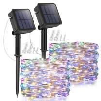 Solar Fairy Lights, 2 Pack 32.8ft 100 LED Solar String Lights Muticolor, 8 Modes Indoor/Outdoor Solar Christmas String Lights Waterproof Solar Twinkle Light for Garden Party Lawn Decoration