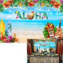 Withu 7x5ft Summer Aloha Luau Party Backdrop Tropical Hawaiian Beach Photography Background Floral Flowers Musical Baby Shower Banner Birthday Decoration Photo Studio Booth Props