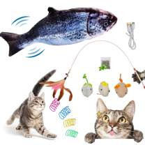 Electric Floppy Fish Cat Toy Pack, Moving Cat Kicker Fish Toy, Flopping Kitten Toys, Realistic Plush Simulation Wagging Salmon Fish, Catnip Toys(9 Pcs Cat Toys)