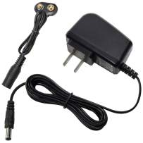 HQRP 9V Battery Snap Connector and AC Adapter Compatible with 9-Volt/Radio/Square / 6LR61 / 7.2H5 / 6KR61 / 6HR61 / PP3 / MN1604 Clip Holder Cable Power Supply Cord [UL Listed] + Euro Plug Adapter