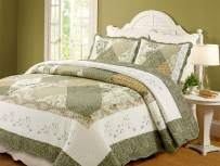 Cozy Line Home Fashions Floral Real Patchwork Green Beige Khaki Yellow Scalloped Edge Country 100% Cotton Quilt Bedding Set, Reversible Coverlet Bedspread for Women(Laura, King - 3 Piece)