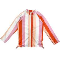 SwimZip Girls UPF 50+ Long Sleeve Zip Rash Guard Swim Shirt Top