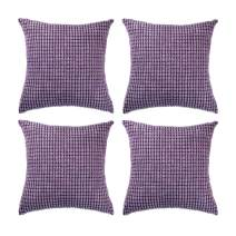 """Set of 4,Decorative Throw Pillow Covers 18"""" x 18"""" (No Insert),Solid Cozy Corduroy Corn Accent Square Pillow Case Sham,Soft Velvet Cushion Cover with Hidden Zipper for Couch/Sofa/Bed,Lavender Purple"""