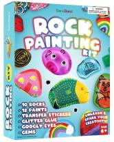 Rock Painting Kit for Kids - Arts and Crafts for Girls & Boys Ages 6-12 - Craft Kits Art Set - Supplies for Painting Rocks - Best Tween Paint Gift, Ideas for Kids Activities Age 4 5 7 6 8 9 10