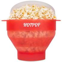 The Original Hotpop Microwave Popcorn Popper, Silicone Popcorn Maker, Collapsible Bowl Bpa Free and Dishwasher Safe - 12 Colors Available (Transparent Red)