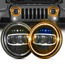 """LED Headlight for Jeep Wrangler BEEYEO 7"""" 80W Round LED Headlight with Halo Daytime Running Light DRL High Low Beam for Jeep Wrangler JK TJ LJ with H4 H13 Adapter-2Pack Blue Star Headlight"""