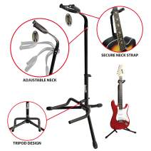 RockJam GS-001 Adjustable Vertical Tripod Guitar Stand for Acoustic and Electric Guitars