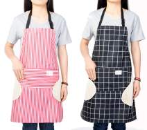 Hioffer 2 Pack Erasable Hand Waterproof Kitchen Apron Women's Stripe Apron with Pocket Adjustable Strap for Cooking, Baking, BBQ and Gardening (Black+Pink)