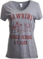 Hawkins Middle School A.V. Club | Vintage 80s AV Hawkin Women V-Neck T-Shirt Top
