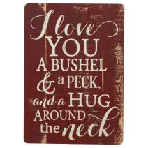 I Love You A Bushel & A Peck Red Distressed Wood Look 2.5 x 3.5 Inch Wood Lithograph Magnet