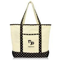 DALIX Zodiac Sign Shopping Tote Bag Black Star Horoscope Gifts - Capricorn