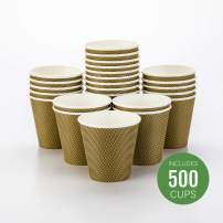 500-CT Disposable Mocha Pin Check 8-oz Hot Beverage Cups with Spiral Wall Design: No Need for Sleeves - Perfect for Cafes - Eco Friendly Recyclable Paper - Insulated - Wholesale Takeout Coffee Cup