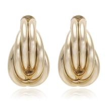 Multi Tubular Twisted Knot Artistic Modern Metal Frame with Gold or Silver Plated Stud Earrings