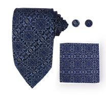 Y&G Men's Fashion Various of Colors Patterns Tie Cufflinks Hanky Set Come in a Gift Box Silk Tie 3PT