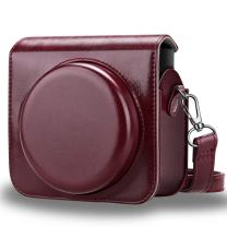 Fintie Protective Case Compatible with Fujifilm Instax Square SQ6 Instant Film Camera - Premium PU Leather Bag Cover with Removable Adjustable Strap, Burgundy