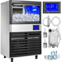 VEVOR 110V Commercial ice Maker 110LBS/24H with 44LBS Bin and Electric Water Drain Pump, Full Clear Cube, Stainless Steel, Auto Operation, Include Water Filter, 2 Scoops and Connection Hose