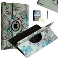 JYtrend iPad Air 2 Case, (R) Rotating Stand Smart Case Cover Magnetic Auto Wake Up/Sleep for iPad Air 2 A1566 A1567 MGLW2LL/A MH0W2LL/A MGL12LL/A MH2V2LL/A MH2W2LL/A MH2U2LL/A (Blue Lotus)