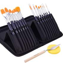 GOTIDEAL Artist Paint Brush Set,15 Pcs assorted brushes with Portable Carrying Case,Palette Knife,Sponge,Suitable for Acrylic, Watercolor, Oil and Gouache Painting,Perfect Paint Brush for Kids & Adult