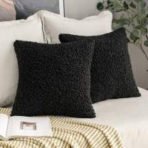 MIULEE Pack of 2 Decorative New Luxury Series Style Black Faux Fur Throw Pillow Covers Super Soft Wool Pillow Cases Cushion Covers for Sofa Bedroom Living Room 20x20 Inch 50x50 cm