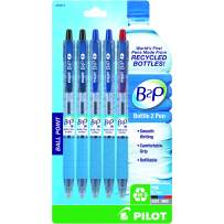 PILOT B2P - Bottle to Pen Refillable & Retractable Ball Point Pen Made From Recycled Bottles, Fine Point, 2 Black/2 Blue/1 Red Ink, 5-Pack (32614)