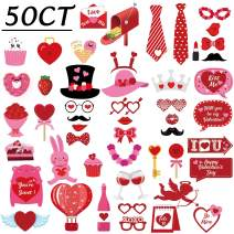 50Ct Valentines Day Photo Booth Props - Heart Love Decorations Wedding Party Decor Favor Supplies (Assembly Needed)