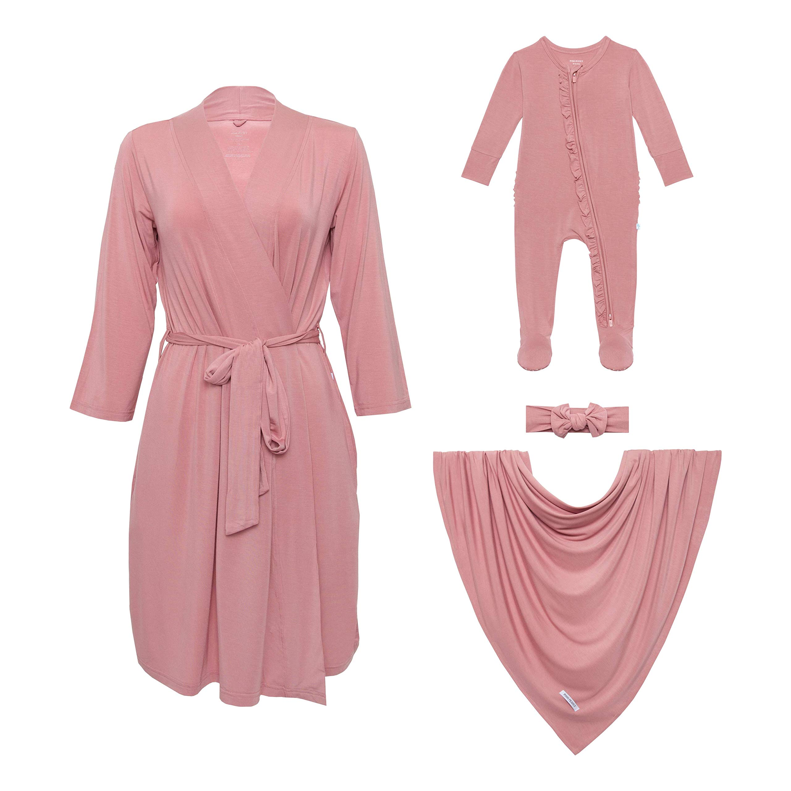 Posh Peanut Maternity Robe with Matching Baby Swaddle Set and Newborn Footie Zippered One Piece Set - Premium Knit Viscose from Bamboo - 3pc Baby Newborn Gift Set (Dusty Rose - X-Large)