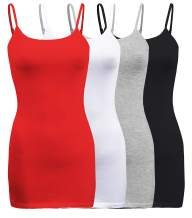 ShezPretty 4 Pack - Women's Basic Cami with Adjustable Spaghetti Straps Tank Top
