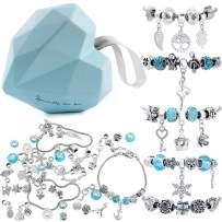 56 Pcs DIY Charm Bracelet Making Kit Handmade Carved Silver Plated Snake Chain Jewelry Making Supplies Bead Bracelets Gift for Teens Girls Kids Women (Blue & Sliver)