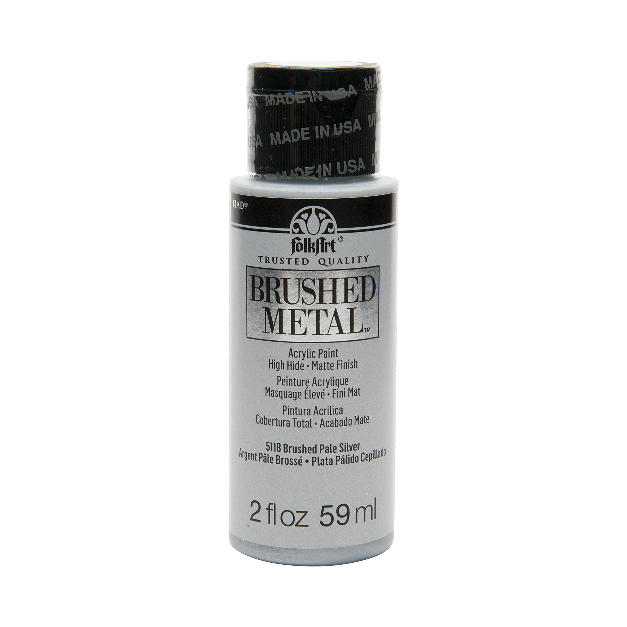 FolkArt Brushed Metal Paint in Assorted Colors (2 oz), Pale Silver