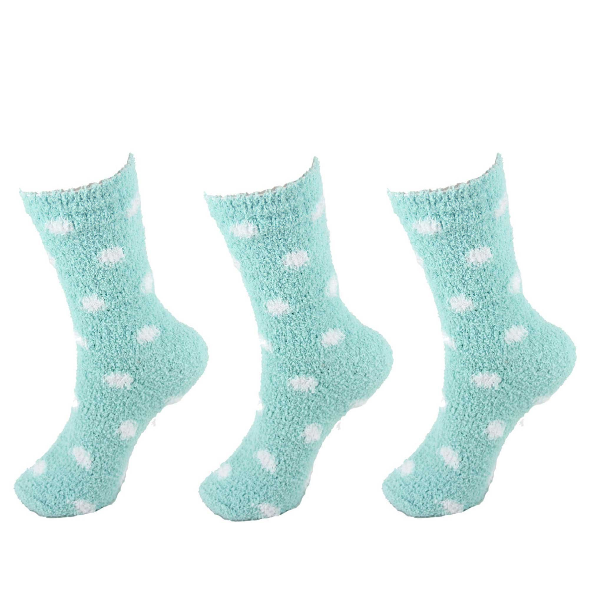BambooMN - Super Soft Warm Microfiber Cozy Fuzzy Stripe/Polka Dot Socks