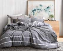 ECOCOTT 3 Pieces Duvet Cover Set King 100% Washed Cotton 1 Duvet Cover with Zipper and 2 Pillowcases, Ultra Soft and Easy Care Breathable Cozy Simple Style Bedding Set(Grey with White Stripes) …