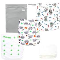 Langsprit Baby Cloth Diaper with Highly Absorbent Bamboo Inserts & Wet Bag,Reusable Unisex Baby Diapers,Baby Shower Gift (Animal)