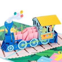 Paper Love Birthday Train Pop Up Card, 3D Popup Greeting Cards