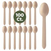 Prexware Biodegradabel Eco-friendly Go green Birchwood Disposable Wooden Spoons set of 100