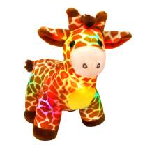 Bstaofy LED Giraffe Stuffed Animal Plush Light Up Jungle Pal Toy Glow in Dark Luminous Birthday Christmas Festival Gift for Kids Friends, 12.5''