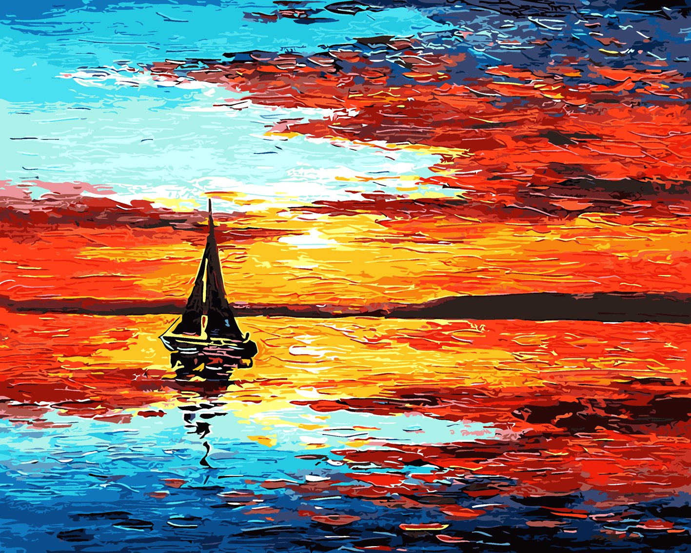 Rihe Paint by Numbers Kits Diy Oil Painting for Adults Kids Beginner - Sunset 16 x 20 inch with Brushes and Acrylic Pigment (Without Frame)