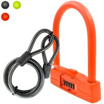 Lumintrail 18mm 5 Digit Combination Bike U-Lock with 4-Foot Braided Steel Cable