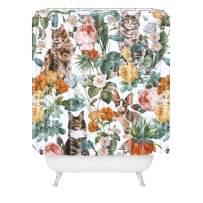"Society6 Burcu Korkmazyurek Cat and Floral Pattern III Shower Curtain, 72"" x 69"" 2lbs, Multi"
