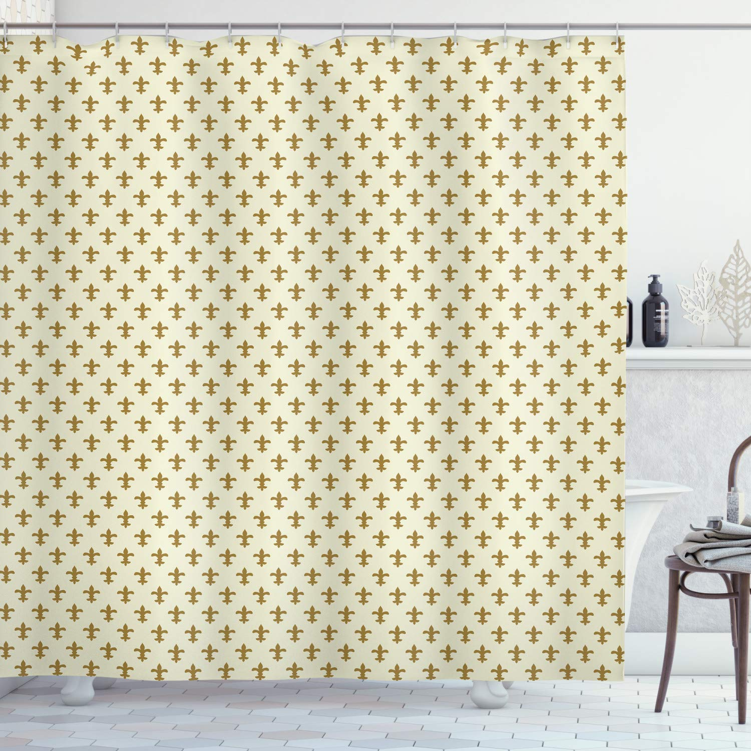 """Ambesonne Retro Shower Curtain, Fleur-de-lis Flower of The Lily Design Traditional Repetitive Pattern, Cloth Fabric Bathroom Decor Set with Hooks, 70"""" Long, Cream Gold"""