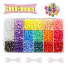 MAKERSLAND 2600+pcs Beads Kit Transparent AB Color Rainbow Plastic Craft Multicolor Pony Beads in 18 Colors with Elastic String and Storage Box for DIY Bracelet Necklace Key Chain and Jewelry Making