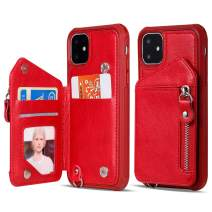 iPhone 11 Pro Max Wallet Case for Women/Men with Strap,Vodico Slim Flip Folio Zipper Leather Phone Purse with Card Holder+Full Body Shockproof Silicone Case Magnetic Closure Stand Cover (Red)