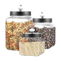 Style Setter 303252-RB Square Canister Set 3-Piece Glass Jars in 43, 64 and 75 ounces Chic Retro Design with Airtight Stainless Steel Lids for Cookies, Candy, Hammered